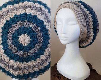 THE VINTAGE TAM Handmade 1940s Landgirl Boho Alpaca Wool Blend Crochet Knit Beret Hat Cream Grey Blue
