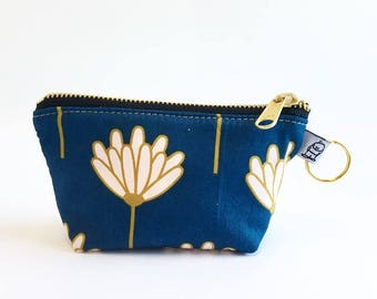 Charlie Change Purse, Change Purse, Zippered Pouch, Zippered Handbag, Fabric Accessories, Accessories,  Cosmetic Bag,lotus