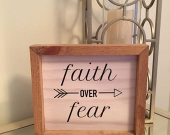 Faith Over Fear - Christian Gift - Baby Shower - Christening - Baptism - Communion - Graduation