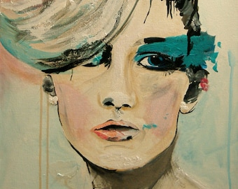 Push - Fashion Painting Portrait Art Print   // 2nd edition
