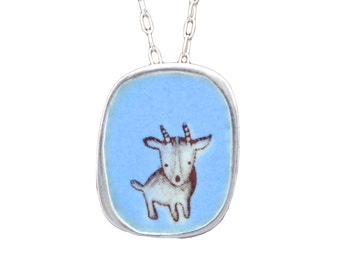 Minature Goat Necklace - Sterling Silver and Vitreous Enamel Goat Pendant