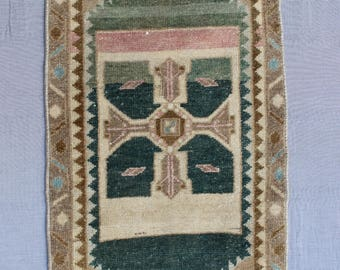 MS-35 Turkish Handmade Oushak Small Vintage Rug..91 x 46 cm.., 3'  x 1' 5'' ft.. Shipping included..