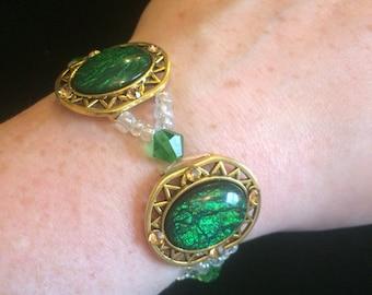 Green & Gold Stretch Bracelet