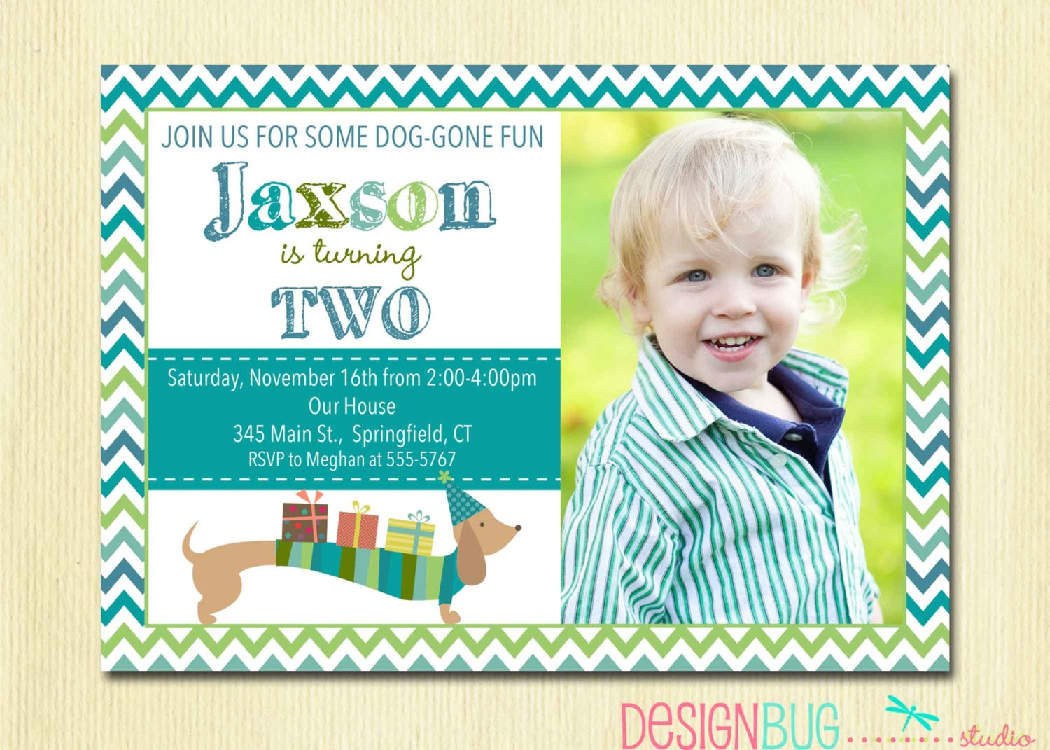 Birthday Boy Dog Invitation Weiner Dog Dachshund Invite