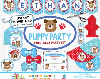 Puppy Party Printable Kit, Puppy Paw-ty, Puppy Adoption Party, Puppy Birthday Party, Puppy Dog Invite, Puppy Decorations, INSTANT DOWNLOAD