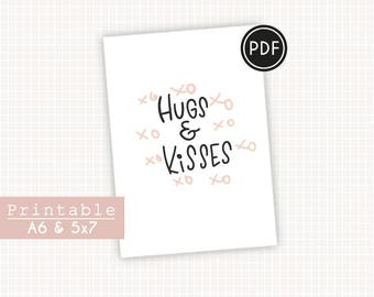 PRINTABLE Hugs & Kisses Dusty pink XO card. Hand lettering card. Dusty pink and black lettering. Valentines gift for him, for her.