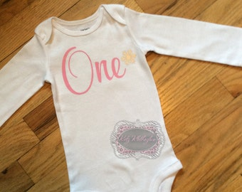 Baby Onesie One Birthday Shirt 1st Birthday Onesie One Shirt Snowflake Onesie Pink Onesie Shirt Personalized Onesie Winter Wonderland 1st