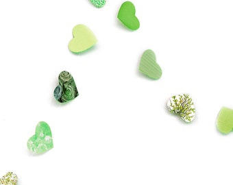Green garland in paper hearts