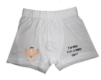 Boxer strong white boy dad personalized with name