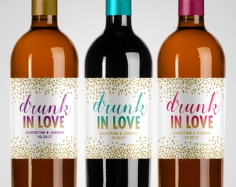 Bachelorette and Bridal Showers Party Favor Labels // Drunk In Love Wedding Shower Labels //  Confetti Labels // Mini // Wine // Champagne