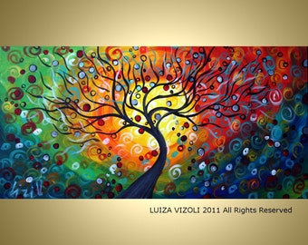 SEASONS  Large 72x36 Modern Abstract Fantasy Tree Landscape Large canvas Original Painting by Luiza Vizoli