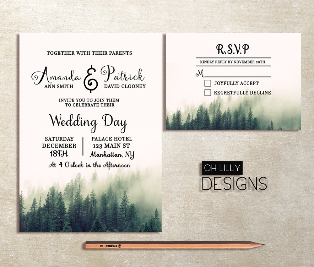 Winter Wedding Invitation Printable Rustic Wedding Invitation