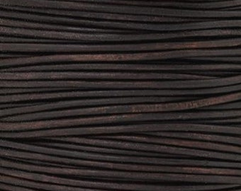Leather Cord-1mm Round-Soft-Natural Dark Brown-50 Meter Spool
