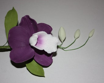 Amethyst Orchid Sugar Flower Spray - Beautiful Edible Cake Topper - FREE UK SHIPPING
