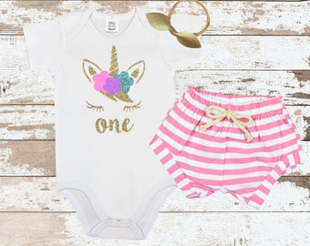 Unicorn Face One First Birthday Shirt | Unicorn One First Birthday Shirt with Pink Striped Shorts for Girls | Baby Girls  Outfit