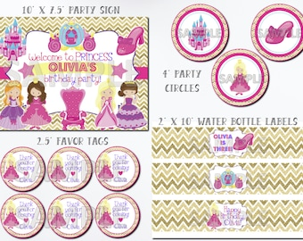 Princess Birthday Party Package, Fairytale Princess Party Package, Princess Birthday Kit, Princess Party Printables, Printable Party Package