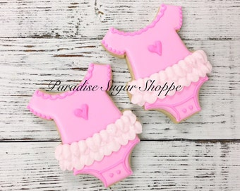Girly Ruffle Onesie Decorated Cookies - 1 Dozen