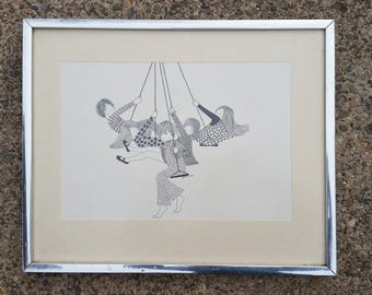 Julie Corsover Art - Children on Swings - Reproduction of signed Pen & Ink drawing