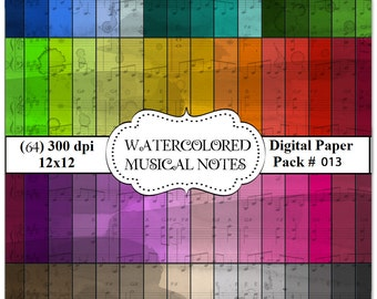 64 fantastic High Quality Digital 12x12  300 DPI  Papers #13 Watercolored Musical Notes....
