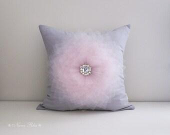 Grey Pillow Cover 16 x 16  Light Pink Flower on Gray Pillow Throw Pillow Couch Pillow Cushion Cover Accent Pillow
