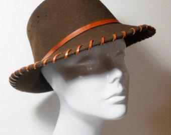 Vintage Brown Daniele Meucci Fedora Hat, Accessories