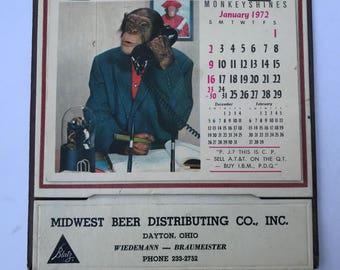 Monkey Shines Calendar 1972 Midwest Beer Distributing Co Dayton Ohio Blatz Beer Advertsing