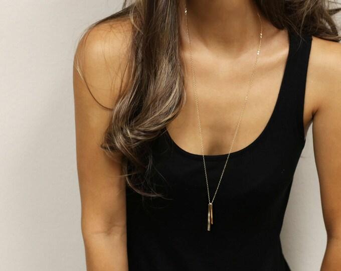 Vertical bar tag necklace - long Initial bar necklace // Personalized Long Name bar necklace //long necklace