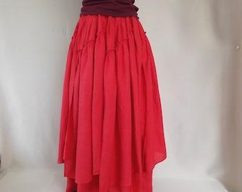 Maxi skirt.Red skirt.Boho skirt.Gipsy Skirt.Organic linen. Women skirt.Summer skirt.