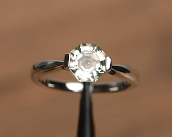 natural green amethyst ring engagement ring octagon cut green gemstone sterling silver solitaire ring