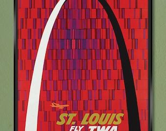 TWA Travel Poster – St. Louis Gateway Arch 1960s – Canvas Gallery Wrap 12x18 20x30 & 24x36 w/ Free UPS Shipping