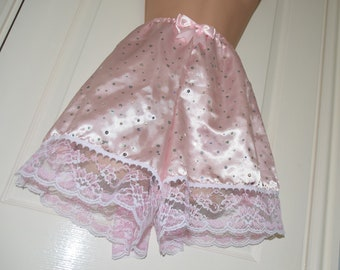 """Soft satinfrench knickers / tap panties, frilly & lacy satin panty wear, to 40"""" waist,  Sissy Lingerie"""