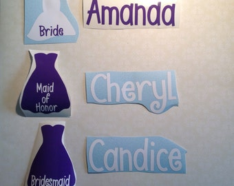 DIY Personalized Bride and Bridesmaid Vinyl Decals Make Your Own Wedding Tumblers or Glasses