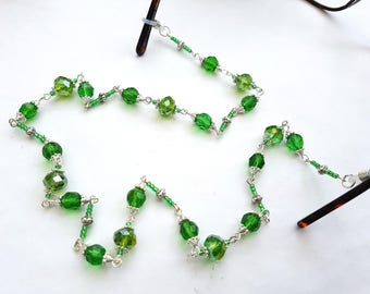 Beaded glasses chain, spectacles chain, green faceted & silver beads, eyeglass holder