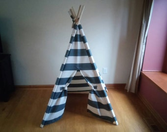 Stripe Teepee Charcoal Gray and Off white Teepee Tent, kids Play Tent,  Gray stripe tent summer outdoor