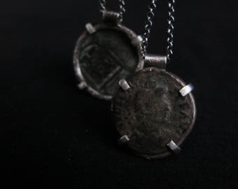 Antique Coin, Sterling silver and pendant- One of a kind - Reticulated silver -Rich texture - Clean elegant design