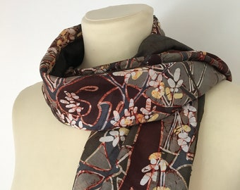 VINTAGE SILK SCARF / Handpainted silk scarf / Wrap around / Long scarf / Fashion / Accessoire / Brown / Floral