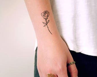 Small rose temporary tattoo / small temporary tattoo / floral temporary tattoo / flower temporary tattoo / vintage tattoo