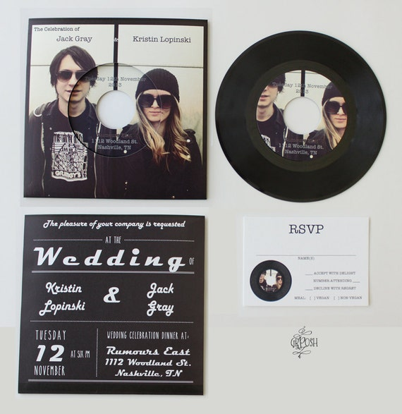 Custom 7in vinyl record wedding invitation 45 rpm wedding