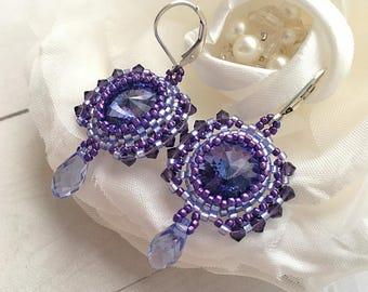 Lavender earrings Lilac earrings Fairy earrings Evening earrings Purple earrings Crystal earrings Bohemian earrings Swarovski earrings