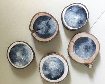 Hand Painted Moon on a Wood Slice - Original Painting on Wood, Handmade, Night Sky Art, Rustic Art, Wood Slice Art, Lunar, Moon Art