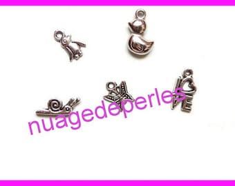 5 charm pendant duckling Penguin snail Butterfly love Tibetan silver