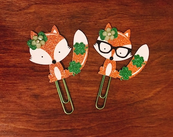 Lucky Fox PaperClip | Four Leaf Clover Fox Planner Clip | Planner Page Marker | Planner Accessory