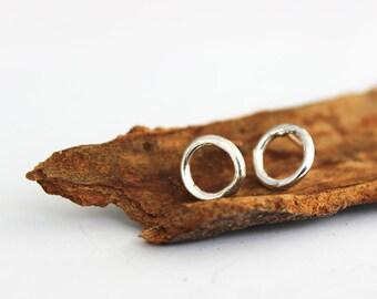 Sterling silver stud earrings, small silver stud earrings, open circle studs, minimalist earrings.