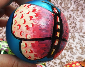 One-Of-A-Kind Painted BUTTERFLY on a Big Vintage Christmas BALL, Pink on Turquoise Blue, Twine To Hang, by Yael Bolender