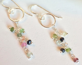 Tourmaline Earrings, Silver Earrings, Wire Wrapped Jewelry, Tourmaline Gemstones, Dangle Earrings, Gemstone Earrings