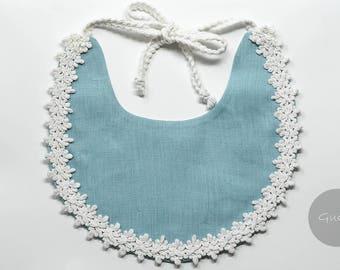 Handmade linen bib - Baby bib, Baby gift, Baby accessories, Drool bib, Baby shower gift, Linen bib, Baby outfit, Sky blue bib