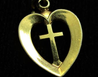 Heart Bracelet Charm Sterling Silver Religious Charm Small Necklace Pendant Heart and Cross Charm Christian Symbol Charm CWOSS1