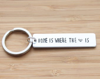 hand stamped keychain   home is where the heart is