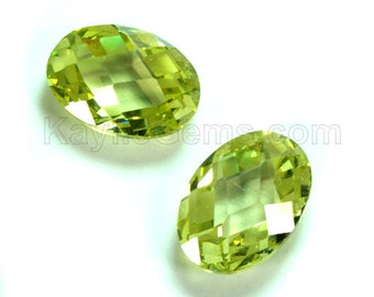 10x14mm Oval Cubic Zirconia CZ Double Faceted Checker Cut - Olivine- 1pc