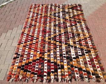 Area rug 5x8,  Kilim rug 5x8, Tulu Rug, Decorative kilim, bohemian rug, Turkish rug, rug, Soft color kilim, rug, colorful rug, boho rug,189